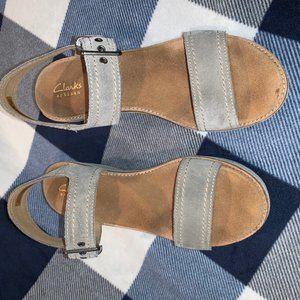 Clarks Wedge Sandals - stone